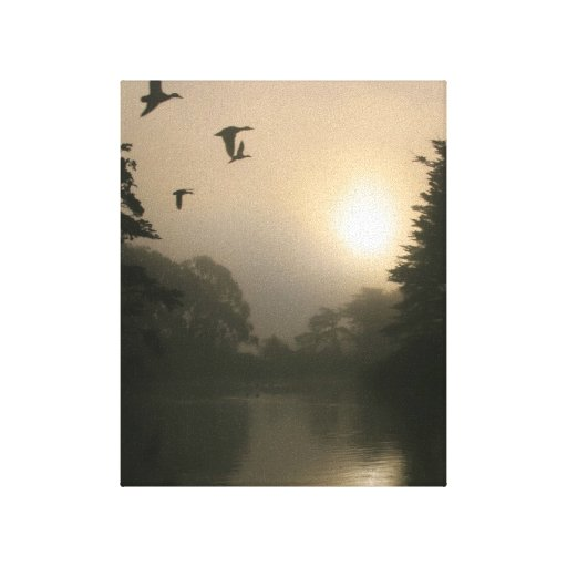 Flying Mallards and Morning Fog Canvas Print