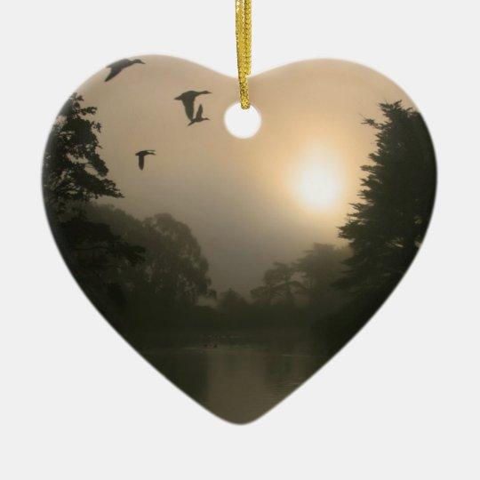 Flying Mallards and Morning Fog Ceramic Ornament