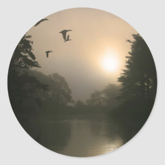 Flying Mallards and Morning Fog Classic Round Sticker