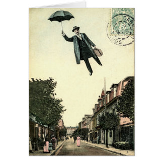 Flying Man Vintage Style Greetings Card