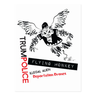 Flying Monkey Deportation Police Postcard