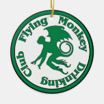 Flying Monkey Drinking Club Double-Sided Ceramic Round Christmas Ornament