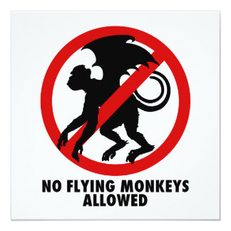 """Flying Monkey Party 5.25"""" Square Invitation Card"""