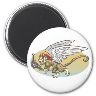 Flying Monkey Pirate by Mudge Studios 2 Inch Round Magnet