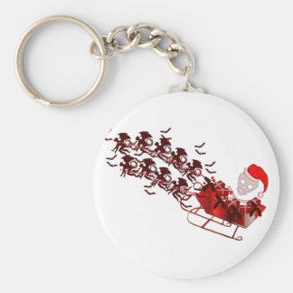 Flying Monkey Santa Keychain