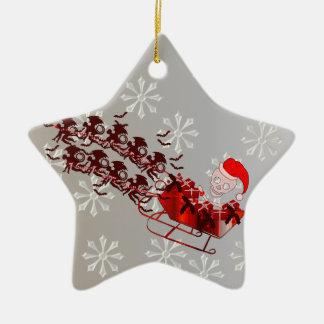 Flying Monkey Santa Double-Sided Star Ceramic Christmas Ornament