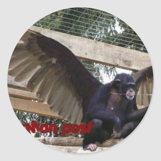 flying monkey wear classic round sticker