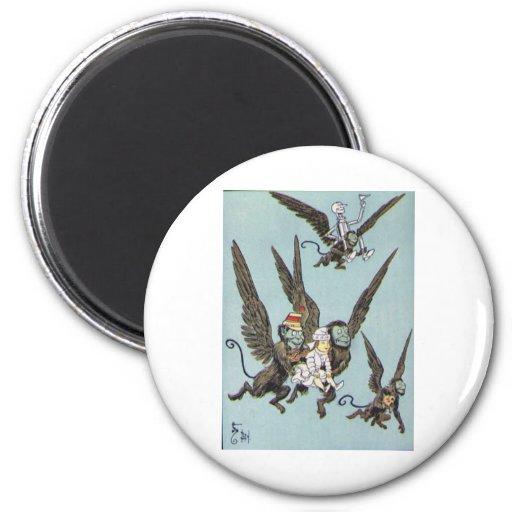 Flying Monkeys Color 2 Inch Round Magnet