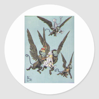 Flying Monkeys Color Classic Round Sticker