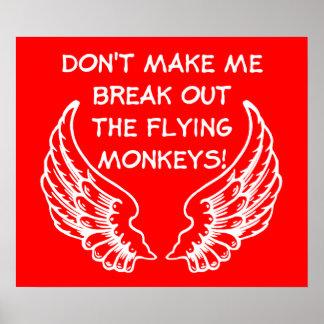 Flying Monkeys Funny Poster Humor