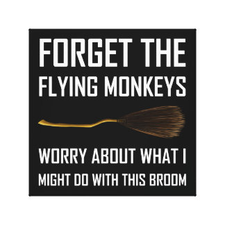 Flying Monkeys Witch Broom Canvas Print