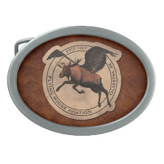 Flying Moose Aviation Patch Belt Buckle