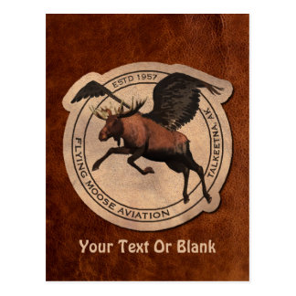 Flying Moose Aviation Patch Postcard