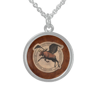 Flying Moose Aviation Patch Sterling Silver Necklace