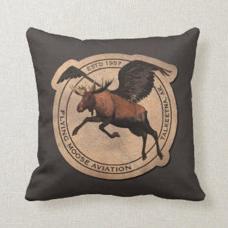 Flying Moose Aviation Patch Throw Pillow
