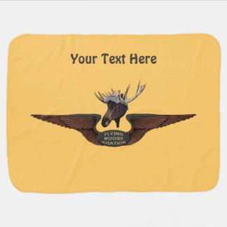 Flying Moose Aviation Wings Receiving Blanket