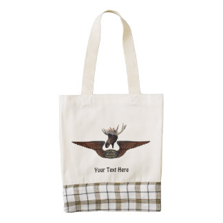 Flying Moose Aviation Wings Zazzle HEART Tote Bag