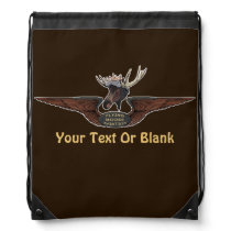 Flying Moose Bush Pilot Wings Drawstring Backpack