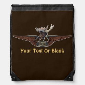 Flying Moose Bush Pilot Wings Drawstring Backpack