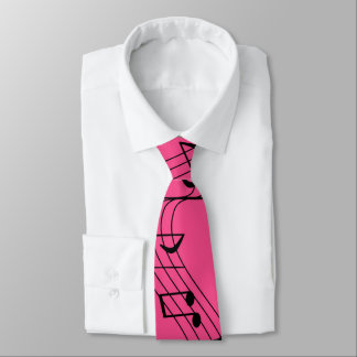 Flying Music Score Tie Pink