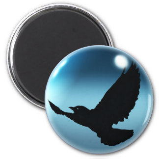 Flying Mystic Crow & Magickal Orb Fantasy Magnet