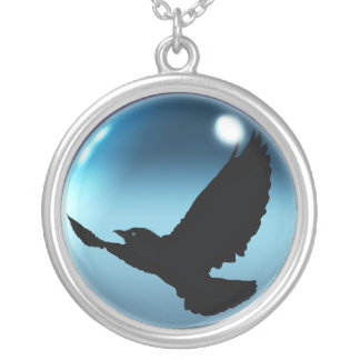 Flying Mystical Crow Fantasy Round Necklace