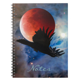 Flying Mystical Raven & Eclipsed Moon Notebook