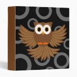 Flying Night Owl Cartoon Binder