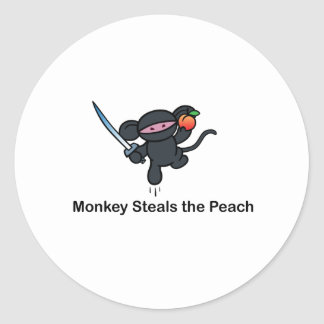 Flying Ninja Monkeys Steals the Peach Classic Round Sticker