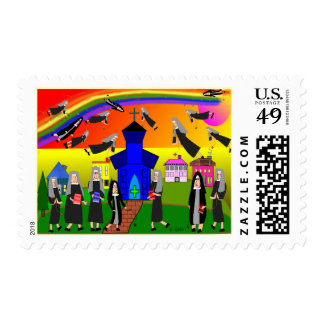 Flying Nuns Postage Stamps Whimsical Art