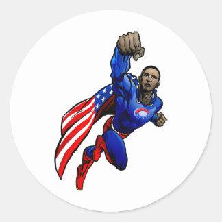 Flying Obama Classic Round Sticker