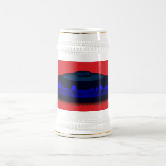 Flying Objects R. & D. in Chrome BLUE and Magenta Beer Stein