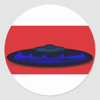 Flying Objects R. & D. in Chrome BLUE and Magenta Classic Round Sticker
