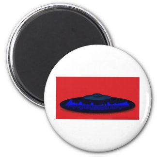 Flying Objects R. & D. in Chrome BLUE and Magenta Fridge Magnet