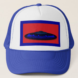 Flying Objects R. & D. in Chrome BLUE and Magenta Trucker Hat