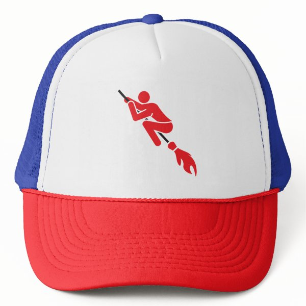 flying on the magic broom trucker hat