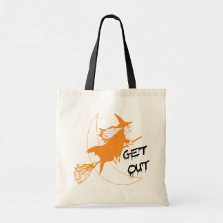 Flying Orange Witch Trick or Treat Bad Tote Bag