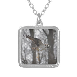 Flying Osprey & Fish Wildlife Photo Scene Silver Plated Necklace