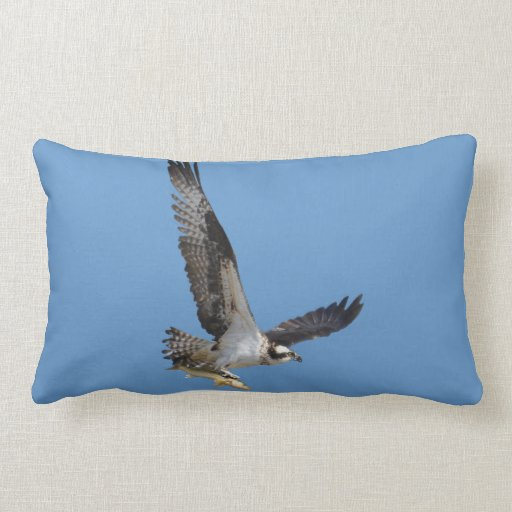 Flying Osprey & Fish Wildlife Photography Pillows