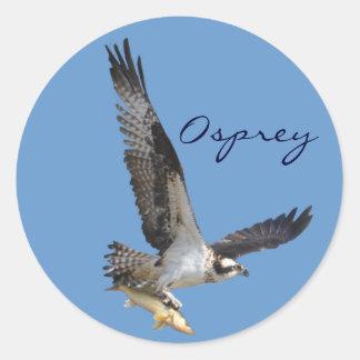 Flying Osprey & Fish Wildlife Photography Classic Round Sticker