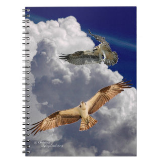 Flying osprey Fluffy clouds Notebook