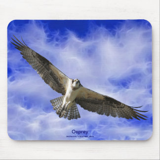 Flying Osprey & Fractal Clouds Photo Art Mousepad