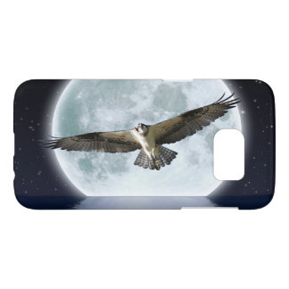 Flying Osprey Hunting under a Full Moon Samsung Galaxy S7 Case