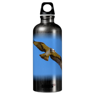 Flying osprey with a target in sight aluminum water bottle