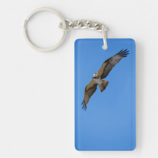 Flying osprey with a target in sight keychain
