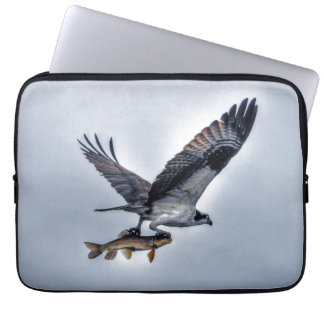 Flying Osprey with Walleye Fish HDR Photo Laptop Sleeve