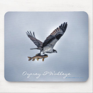 Flying Osprey with Walleye Fish HDR Photo Mouse Pad