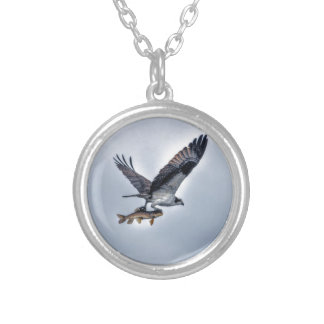 Flying Osprey with Walleye Fish HDR Photo Jewelry