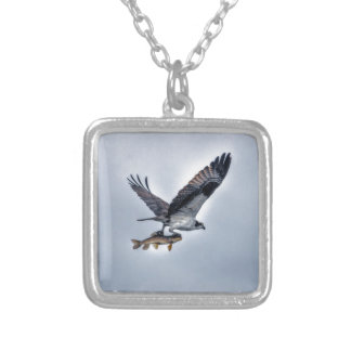 Flying Osprey with Walleye Fish HDR Photo Silver Plated Necklace