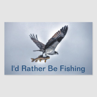 Flying Osprey with Walleye Fishing HDR Photo Sticker